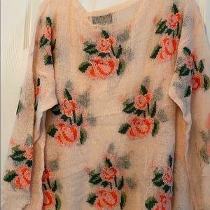 Wildfox Sweaters - Wildfox Prairie Rose Lennon Sweater in Peach